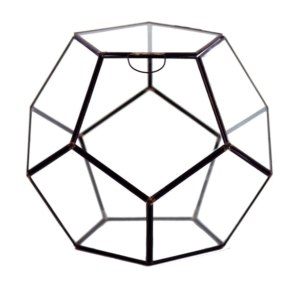 Geometric Glass Terrarium, Dodecahedron, Black Frame, One of the Facet Opens - Width: 11