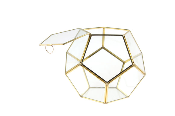 Geometric Glass Terrarium, Dodecahedron, Gold Frame, One of the Facet Opens - Width: 11