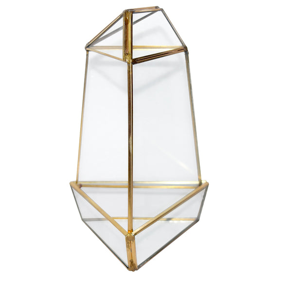 Geometric Glass Terrarium, Medium Triangular Oblisk, Gold Frame - Width Approx: 4