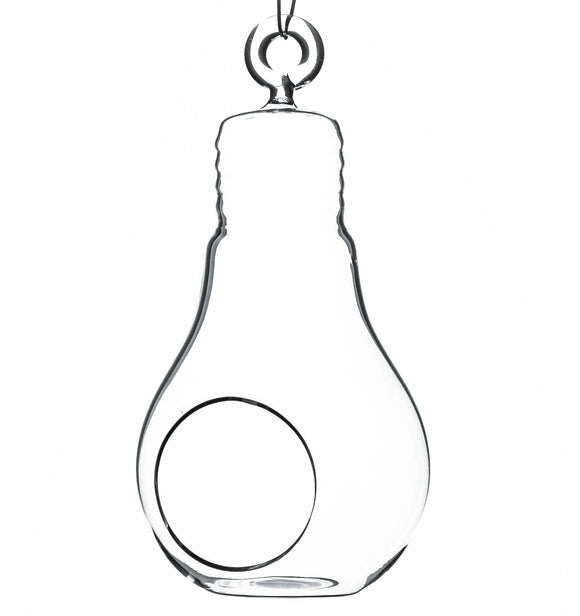 Clear Bulb Hanging Glass Terrarium/Candle Holder. Width: 3