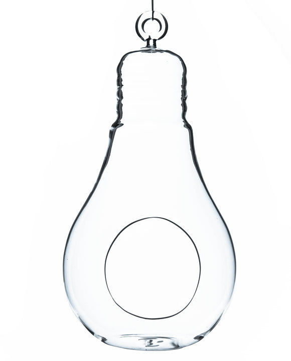 Clear Bulb Hanging Glass Terrarium/Candle Holder. Width: 4.25
