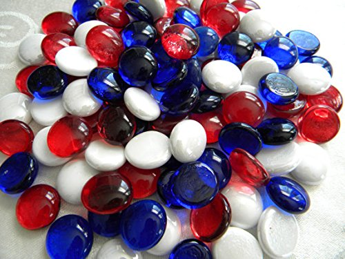 Red/White/Blue Gems, Marbles - 5 Pound Bulk Bag - ifloral.com
