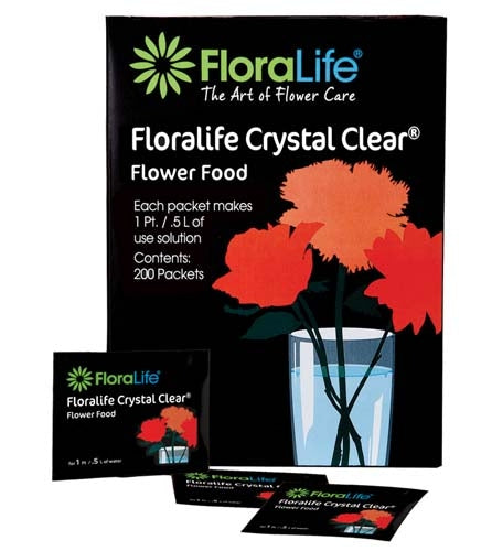 Floralife CRYSTAL CLEAR® Flower Food 300, 1Qt./1L packet, 100 box, 600/case - ifloral.com