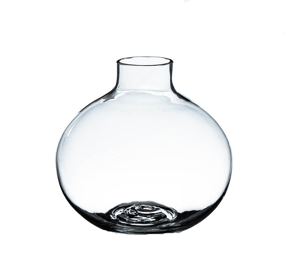 Clear Small Round Bud Vase. W: 4