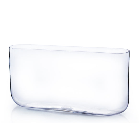 Clear Round Rectangular Vase. WidthxLength: 3