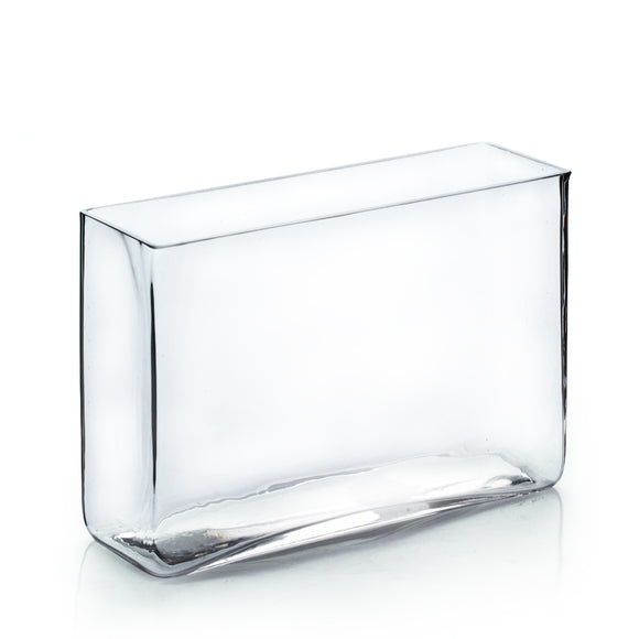 Clear Rectangular Vase. WidthxLength: 3