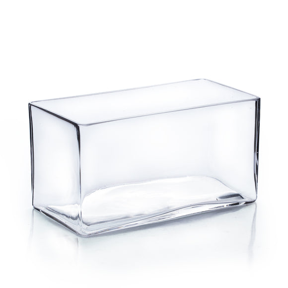 Clear Rectangle Vase. WidthxLength: 8