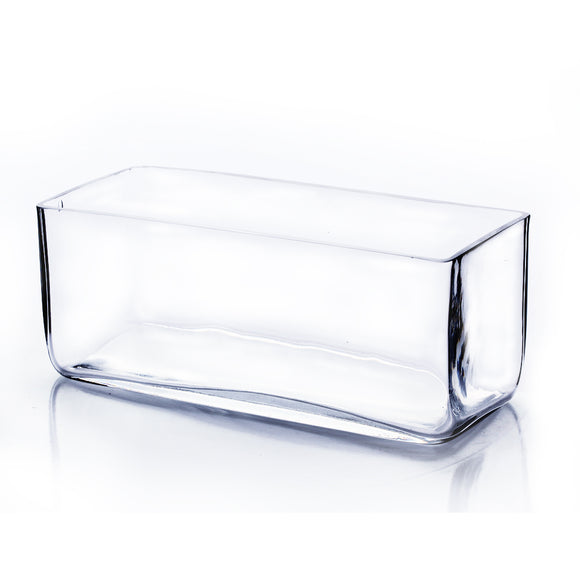 Clear Rectangle Vase. WidthxLength: 10