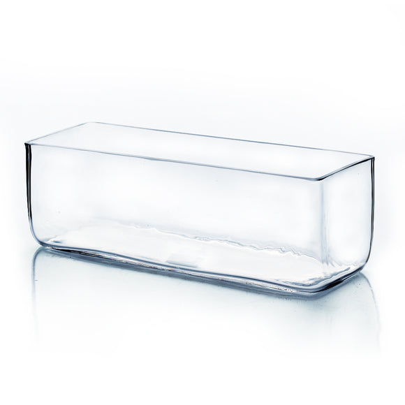 Clear Rectangle Vase. WidthxLength: 12