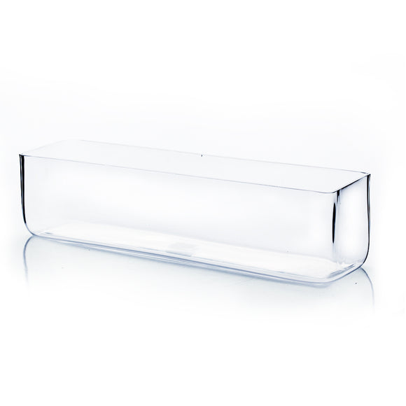 Clear Rectangle Vase. WidthxLength: 16