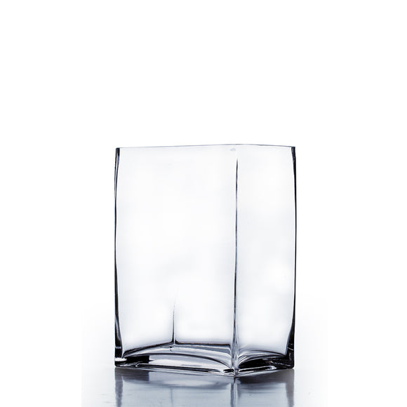 Clear Rectangle Block Vase. WidthxLength: 6