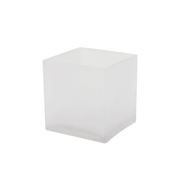 Frosted Cube Glass Vase 4x4x4 - CASE OF 12
