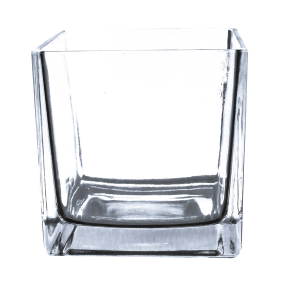 Clear Cube Vase Utility Grade. Open: 5