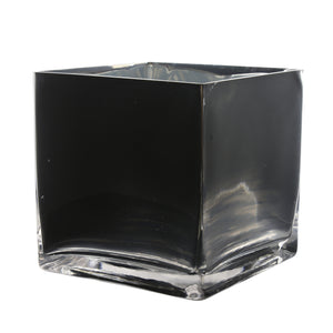 "Black Cube Vase. Open: 6""x6"". Height: 6""."