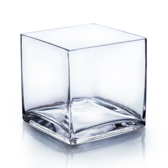 Clear Cube Vase. Open: 7