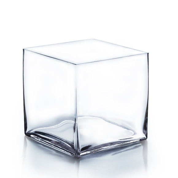 Clear Cube Vase. Open: 8