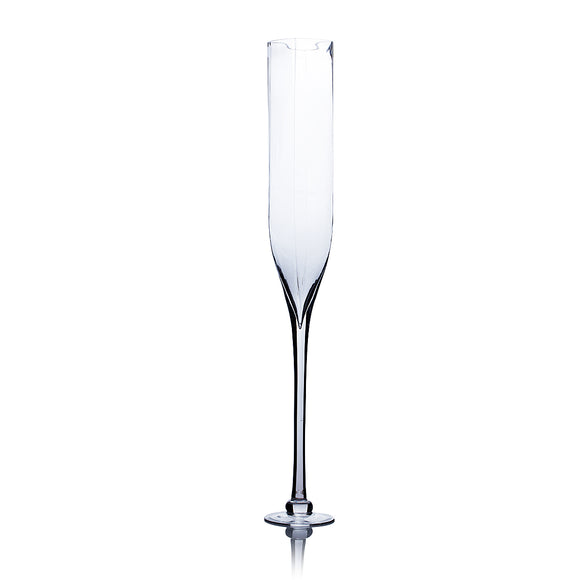 Clear Champagne Vase (Rounded Square Opening). Open: 4