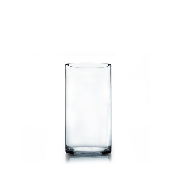 Clear Cylinder Vase. Open: 6. Height: 12