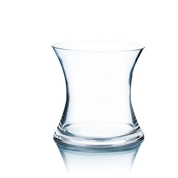 Clear Short Hurricane Concaved Glass Vase Open 7 Height 7