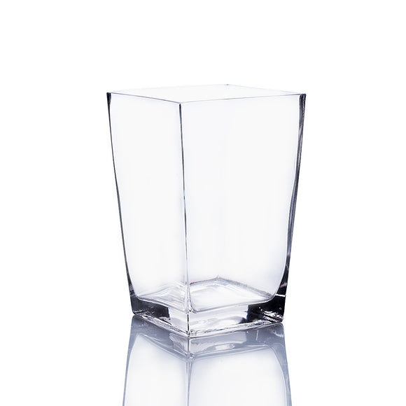 Clear Taper Down Block Vase. Open: 5