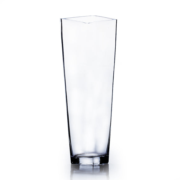 Clear Taper Down Block Vase. Open: 6