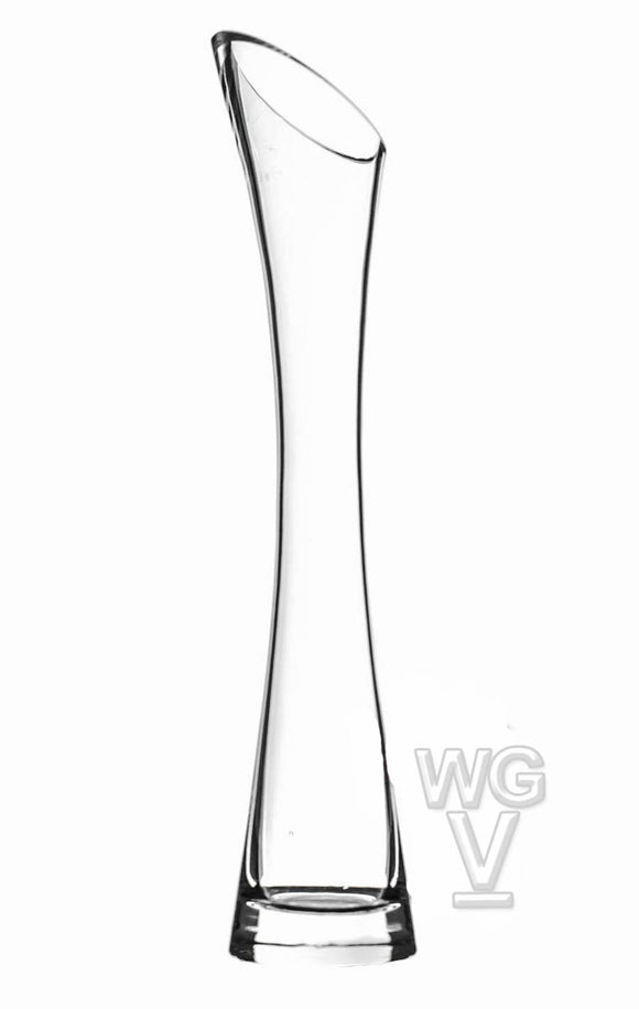 Clear Bud Vase With Slant Opening. Slant approximate Open: 1.5
