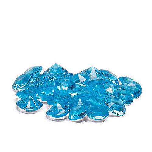 Acrylic Diamond Vase Filler, Table scatter confetti, Color; Aqua Blue (500 gems per pack) [CASE OF 12 PACKS]