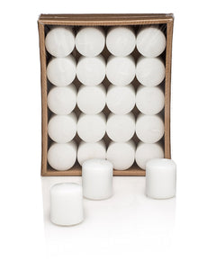 White Votive Candles, 10 hour burn time (Pack of 20) - ifloral.com