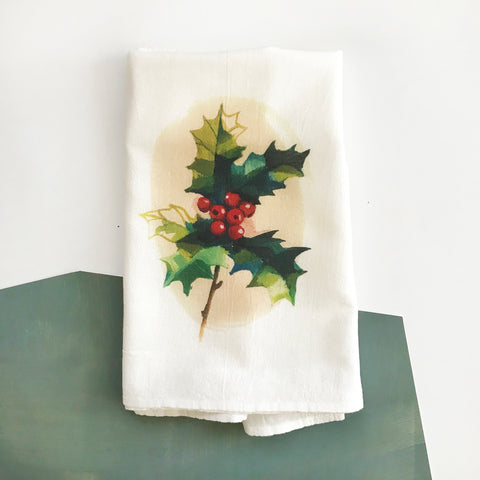Holly Berries Tea Towel