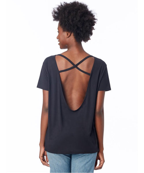 Cross Back Slinky Jersey T-Shirt