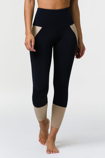 Athletic Midi Black Shiny Taupe Leggings