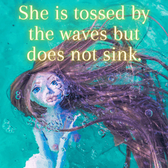 She is tossed by the waves but does not sink