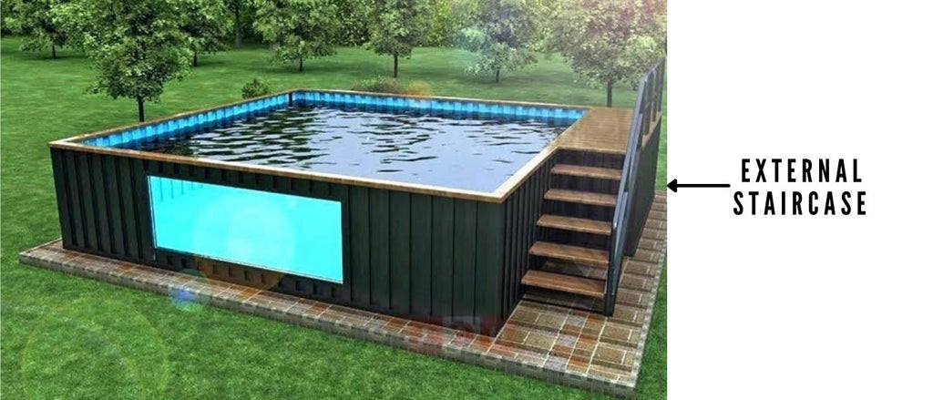 Shipping container pool external staircase