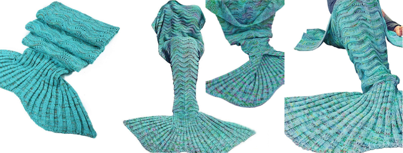 Knitted Tail Blankets green