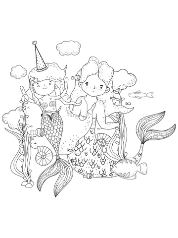 Mermaid coloring page party