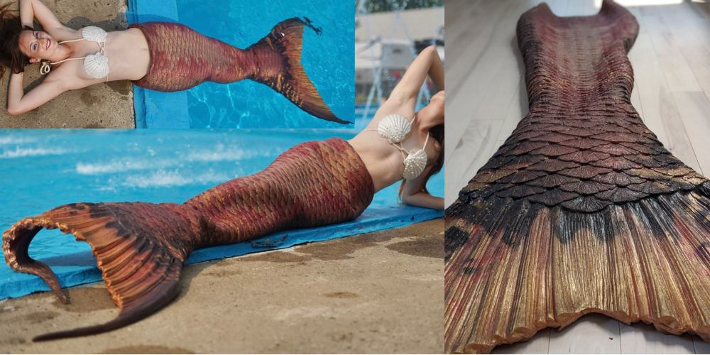 Realistic mermaid tail for rental gold brown copper mertailor montreal