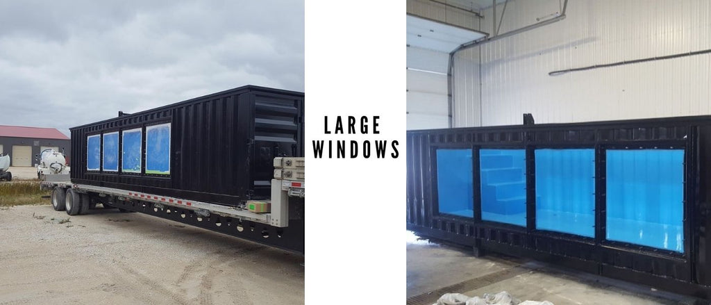 large windows shipping container pool