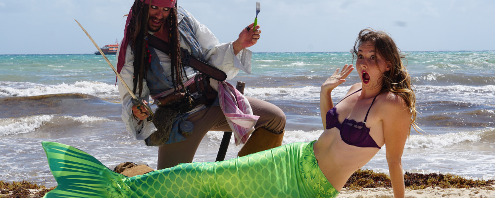 Mermaid and pirate in mexico