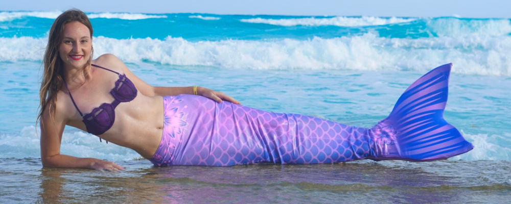 Purple mermaid tail for adult aquamermaid mermaid on the beach