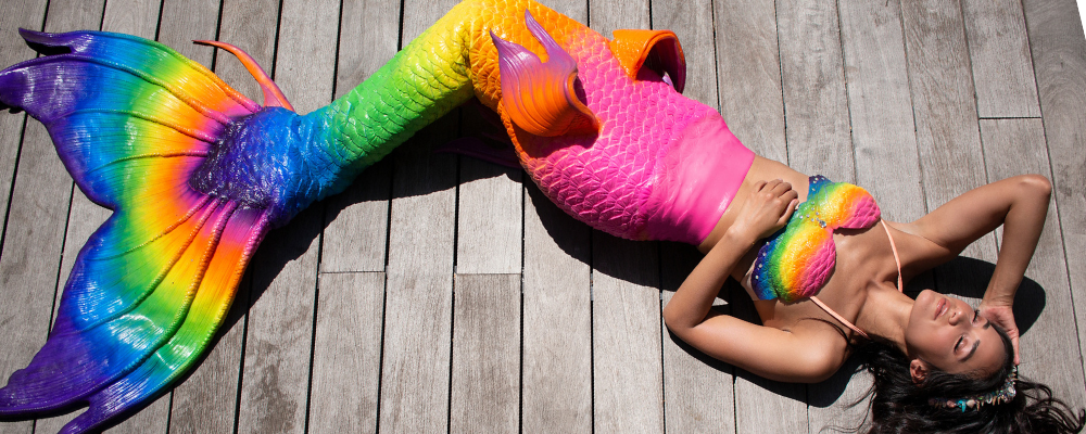 Rainbow silicone mermaid tail, mermaid Lenisa dallas, miss mermaid USA