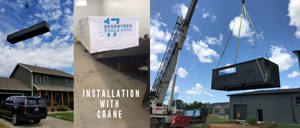 Shipping container pool crane transport truck