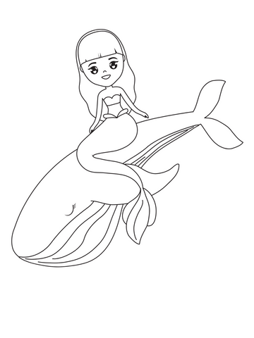 Mermaid coloring page whale
