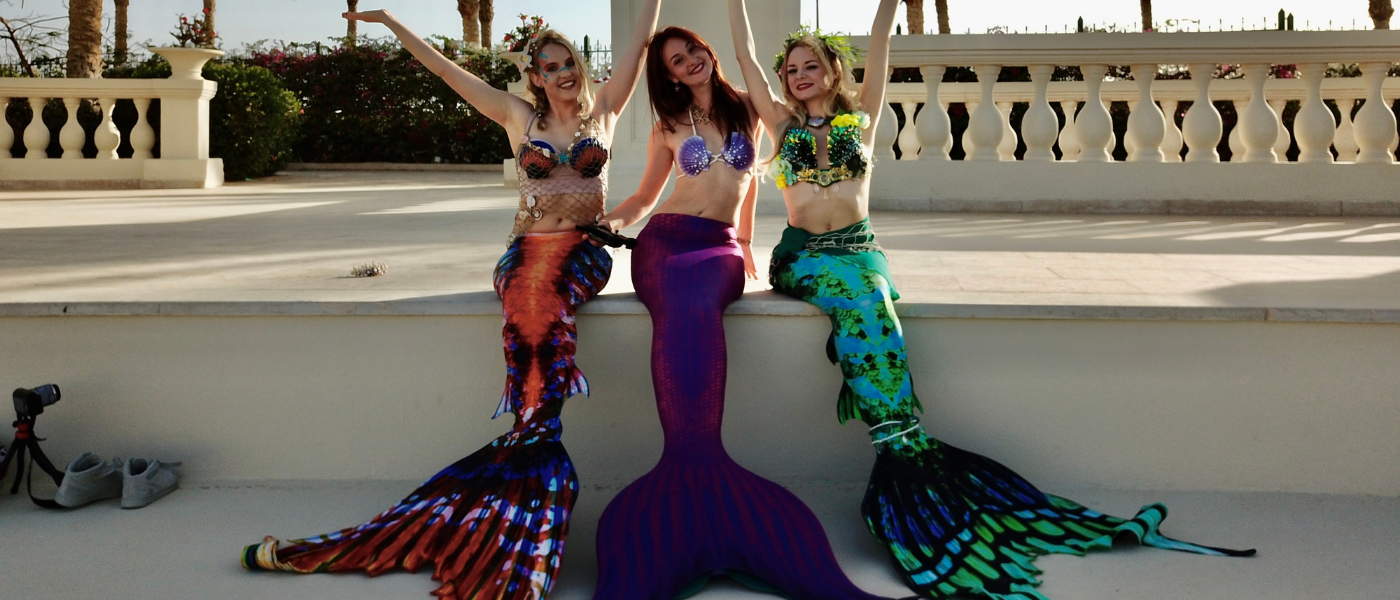Miss Mermaid Switzerland, Canada & Sweden 2019 with their handmade outfi