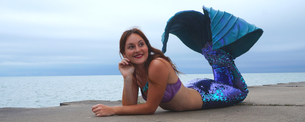 sequin mermaid tail on the pier
