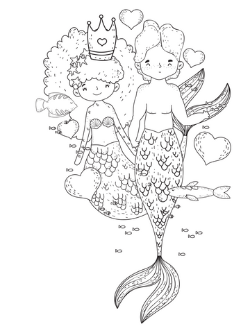 Mermaid coloring page  couple