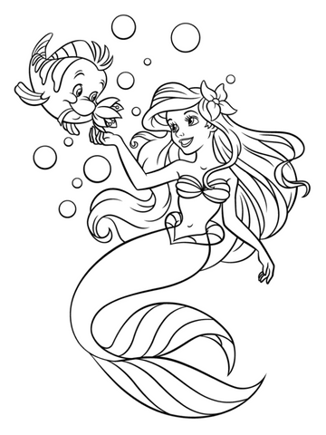 Little mermaid coloring page flounder