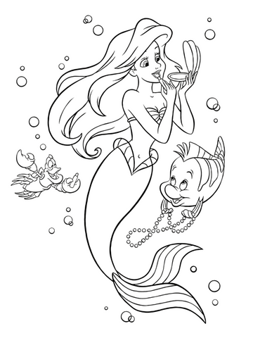Little mermaid coloring page makeup