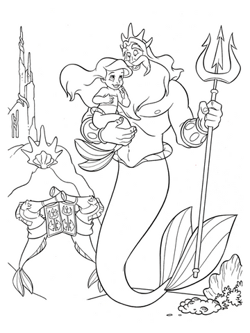 Little mermaid coloring page ariel father triton