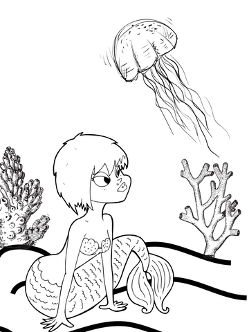 Mermaid coloring page jelly fish
