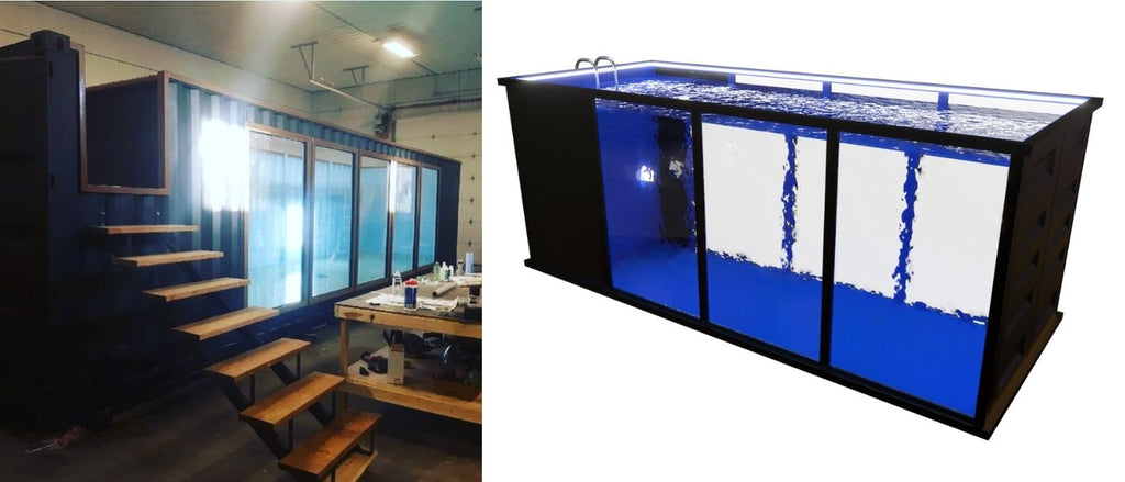 shipping container pool large windows